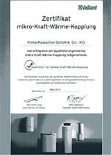 Vaillant Mikro BHKW Zertifikat