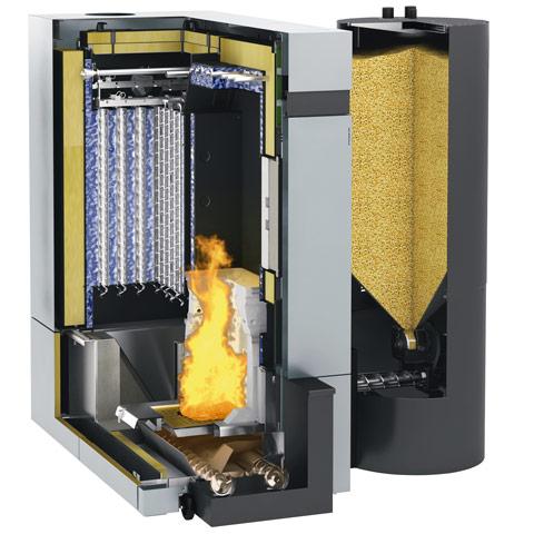 Querschnitt einer Biomasseheizung - Pelletheizungen bei Raatschen